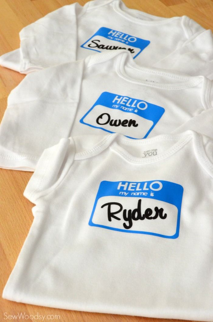 Hello My Name Is Onesies …   Cricut baby, Baby boy onsies