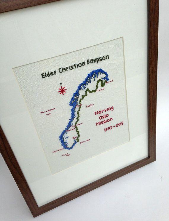 Custom Missionary cross stitch plaque, lds mission cross stitch, map art work, custom mission map, return missionary gift, map cross stitch