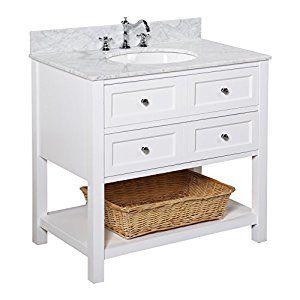 New Yorker 36-inch Bathroom Vanity (Carrara/White): Italian Carrara Marble Countertop, White Cabinet, Soft Close Drawers, and a Ceramic Sink - - Amazon.com