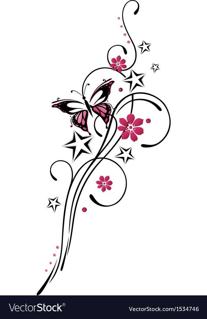 Tribal Flower Butterfly Tattoo Style Vector Image On Vectorstock Butterfly Tattoo Vector Flowers Tattoo Style