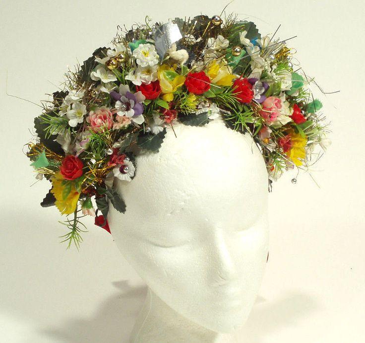 SLOVAK FOLK COSTUME rare handmade headdress floral wreath kroj bridal wedding