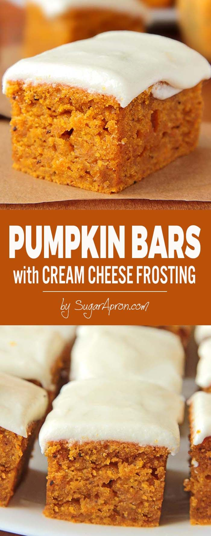 A perfect fall dessert, delicious pumpkin bars with cream cheese frosting.