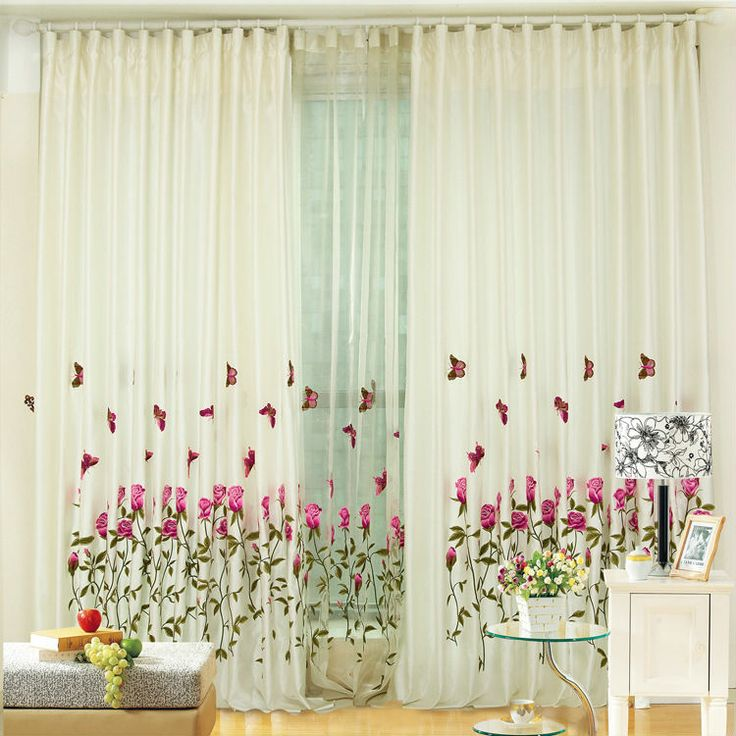 Home window decoration rose embroidered curtain living for Decoration maison rideaux fenetre
