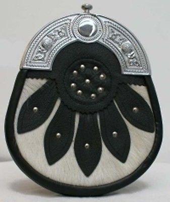 Шотландская мужской белый килт спорран с кельтским канителью & кожи детали