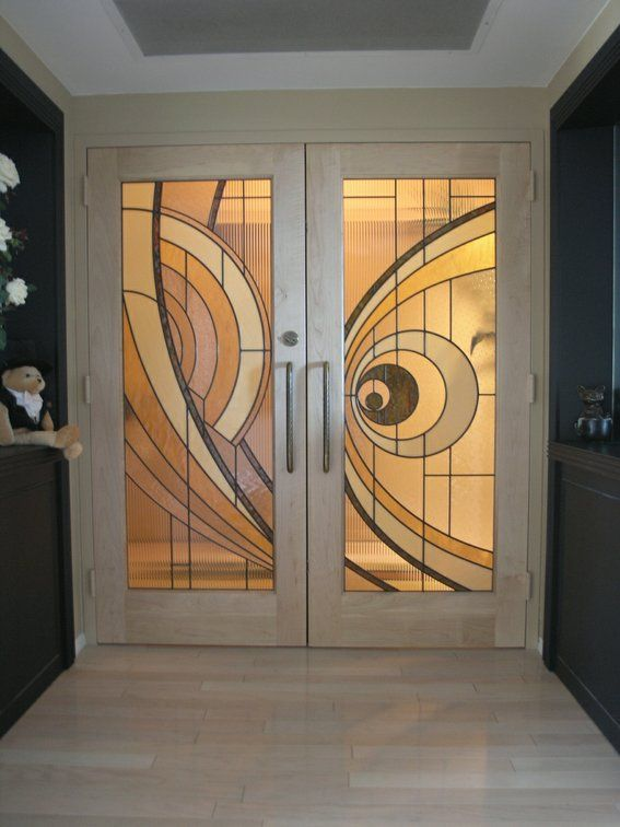 Custom Made Custom Made Hard Maple Doors With Contemporary Stained Glass Panels