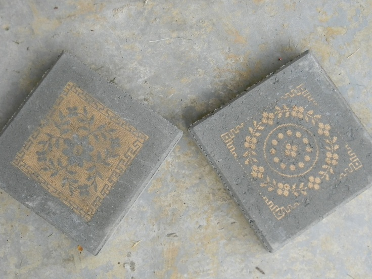 12x12 garden pavers- 1.50 ea at Home Despot  Old lace table cloth cut up- 50cent yard sale item  Gold Krylon- 2.50 at Dollar General  Garden Path Awesomeness- PRICELESS~!