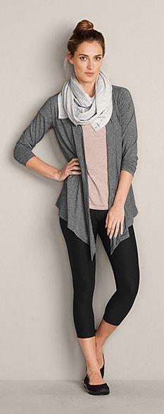 Daisy Wrap, Resolution Short-Sleeve T-Shirt, Movement Capris & Revers-Atility Knit Convertible Scarf #EddieBauer