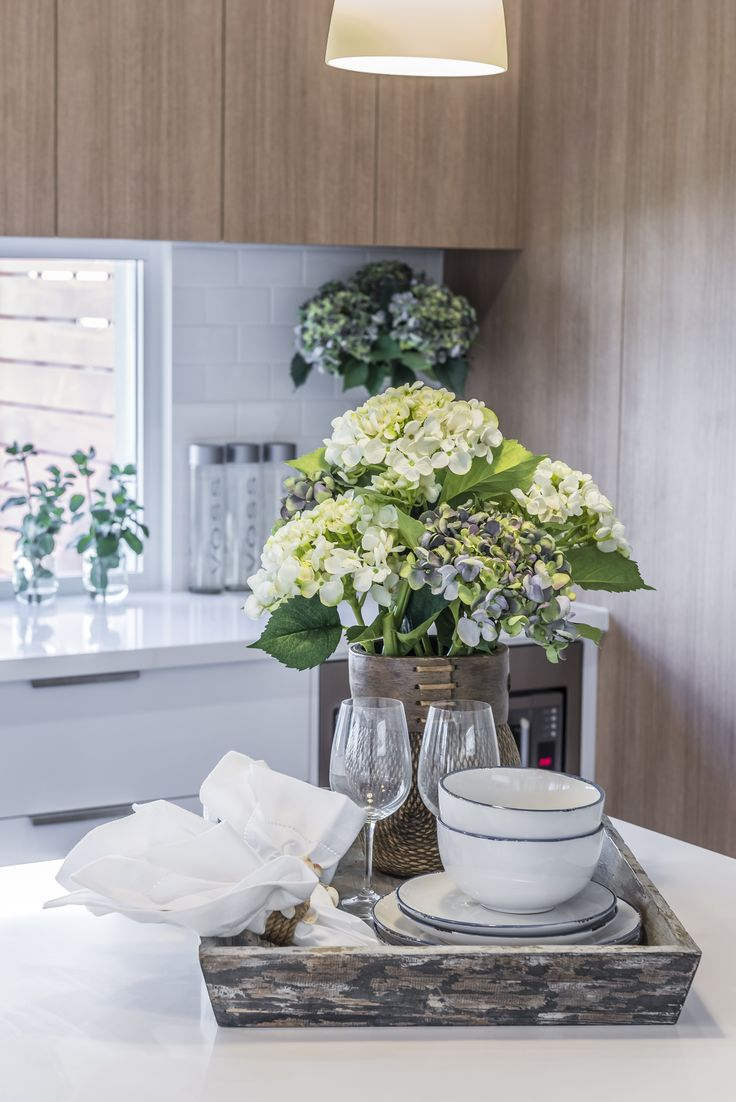 This #table #setting is from Ausbuild's Attwood display home, flowers can add a touch of elegance to any #dining table.  www.ausbuild.com.au.
