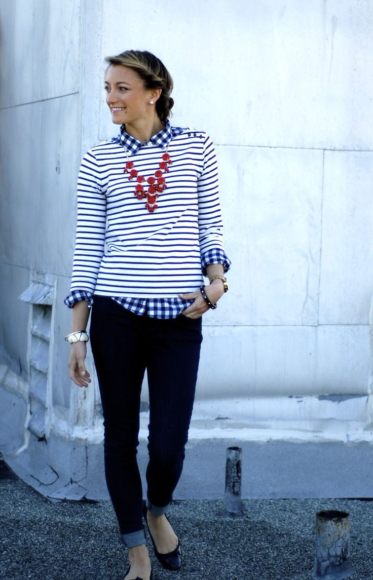 Love the gingham blouse and striped sweater. Red neck gives a nice pop color. I would do an orange necklace!