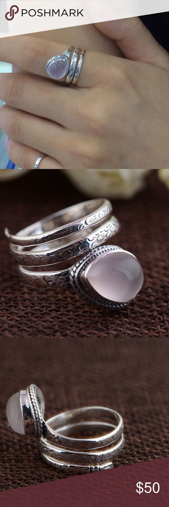 Thai Rose Quartz Silver Ring 925 Sterling Silver Rose Quartz Natural Semi Precious Stone Ring in tension setting 4.6G Jewelry Rings