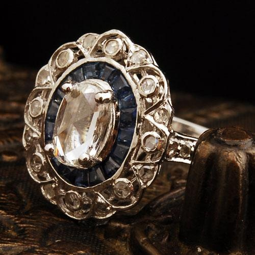 2 ct Diamond Sapphire Solid 18K Yellow Gold Vintage Ring