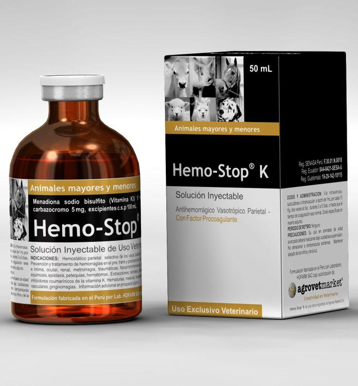 Hemostop® K   Indicaciones: Hemostático parietal selectivo de los vasos dañados y nivelador de los niveles de protrombina. Prevención y tratamiento de hemorragias cutáneas, traumáticas, oculares, renales, hipoprotrombinémicas, en el pre, trans y post operatorio, en el post-parto y post-aborto, en membranas mucosas e íntima, metropatías, hemorragias, hemoptisis, equimosis, deficiencia de vitamina K e intoxicaciones con inhibidores cumarínicos de la vitamina K.