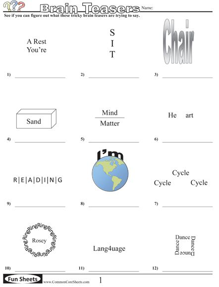 math worksheet : 196 best brain teasers images on pinterest  rebus puzzles word  : Brain Teaser Worksheets