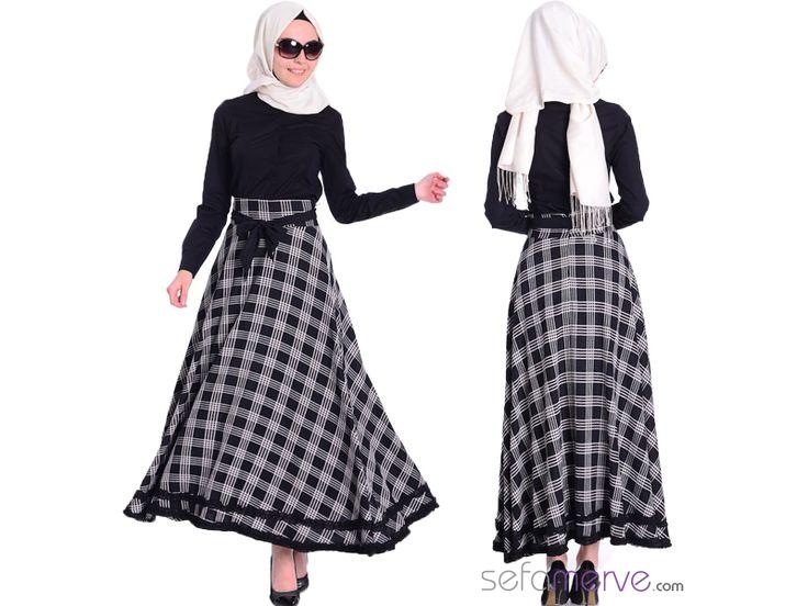 Tesettür Etek 2414-02 Siyah Beyaz || Türkiye ve Avrupa'ya Kargo BEDAVA! #tesetturgiyim #tesettur #sefamerve #hijab #tesettür