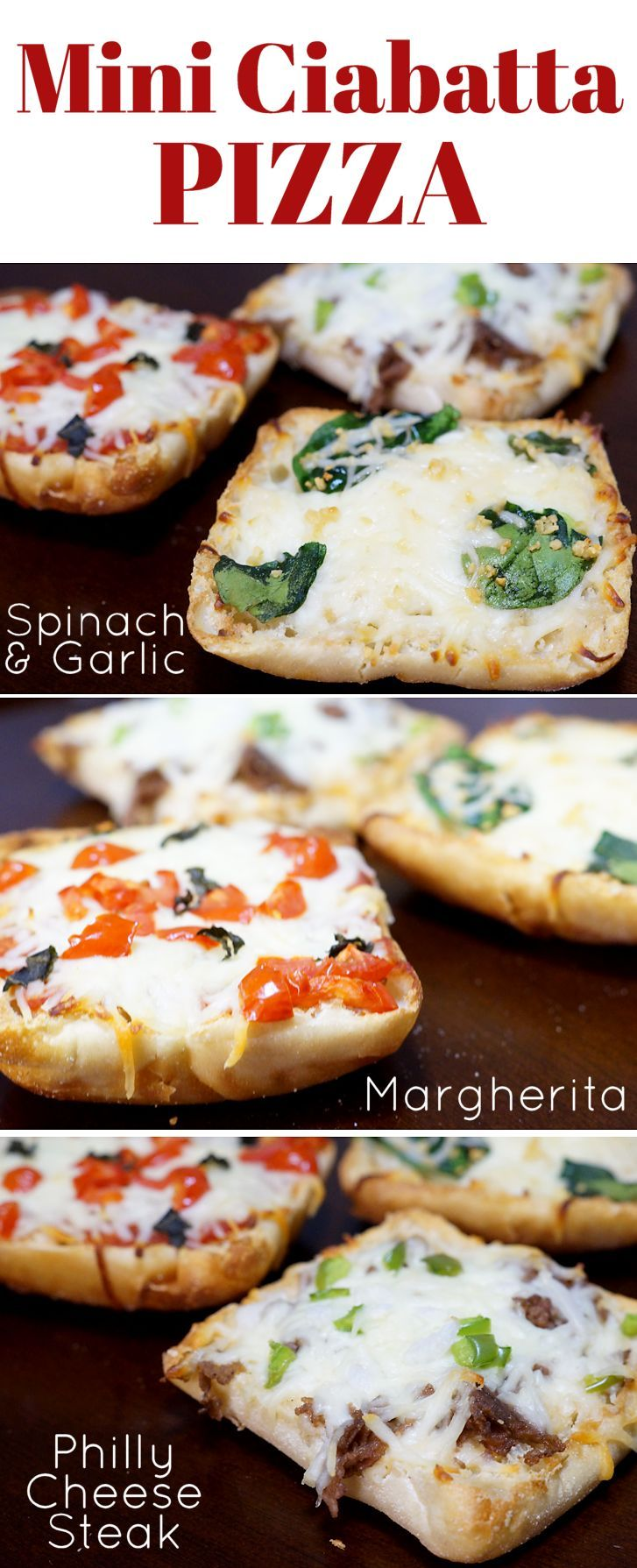 3 Mini Ciabatta Pizza Recipes for Game Day :: Margherita, Spinach & Garlic, Philly Cheese Steak