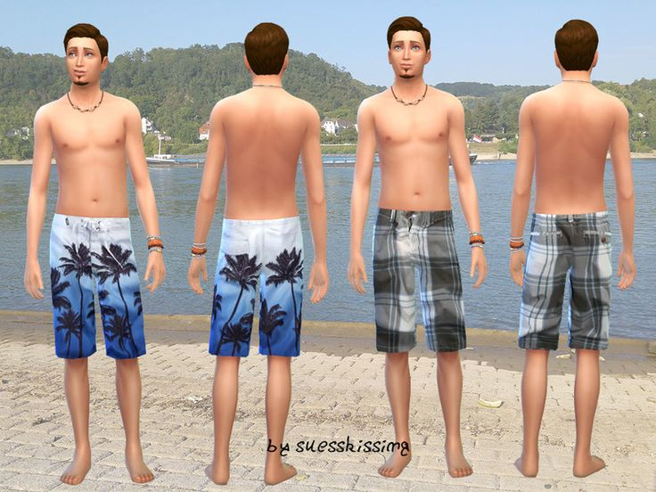 This is a Set with 4 different swimshorts for your male Sim  Found in TSR Category 'Sims 4 Male Swimwear'