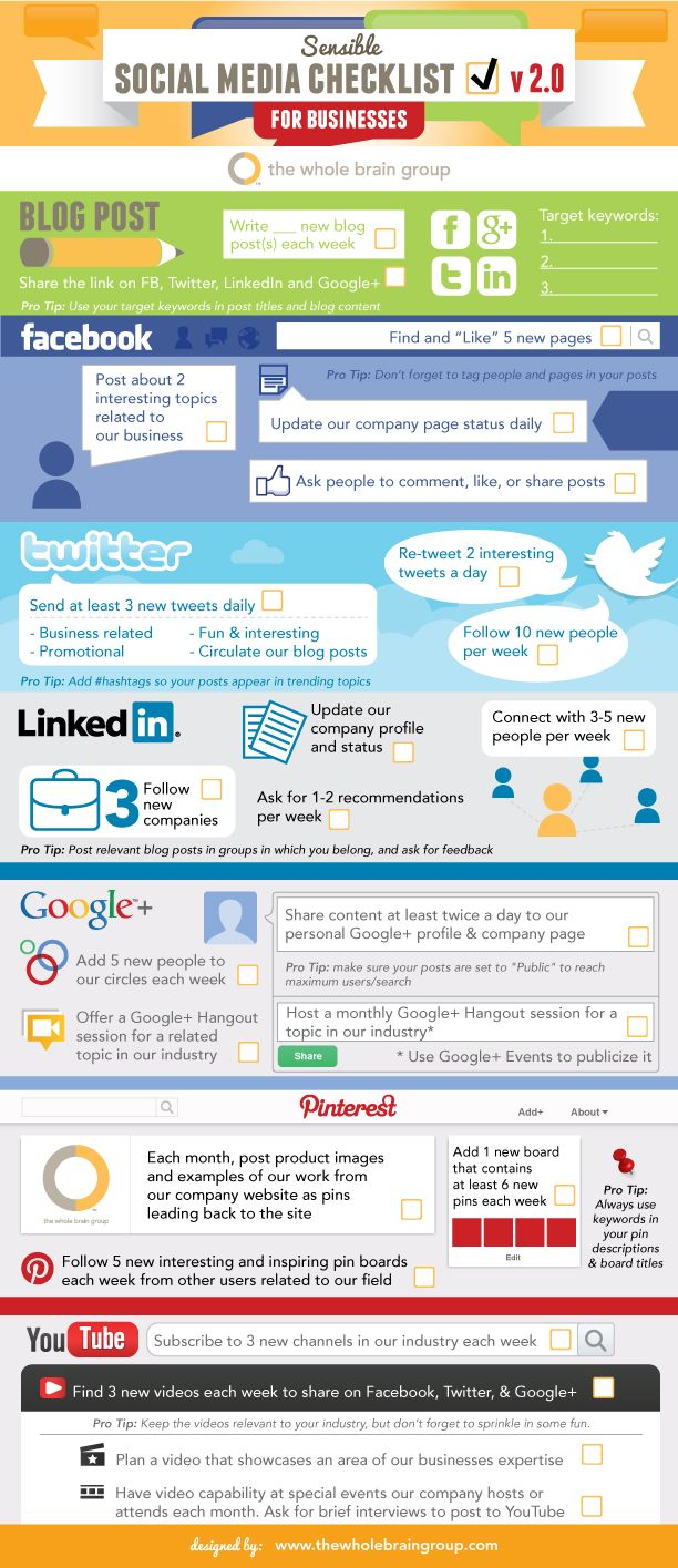 #Twitter, #Facebook, #LinkedIn, #Pinterest - A #SocialMedia Checklist For Businesses - #Infographic