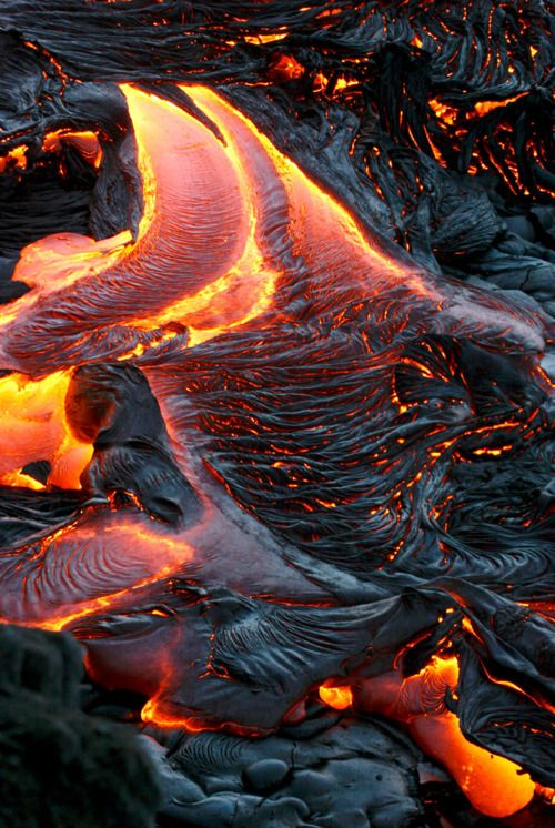 Hawaii, pahoehoe (pah-hoy-hoy) lava on the Big Island