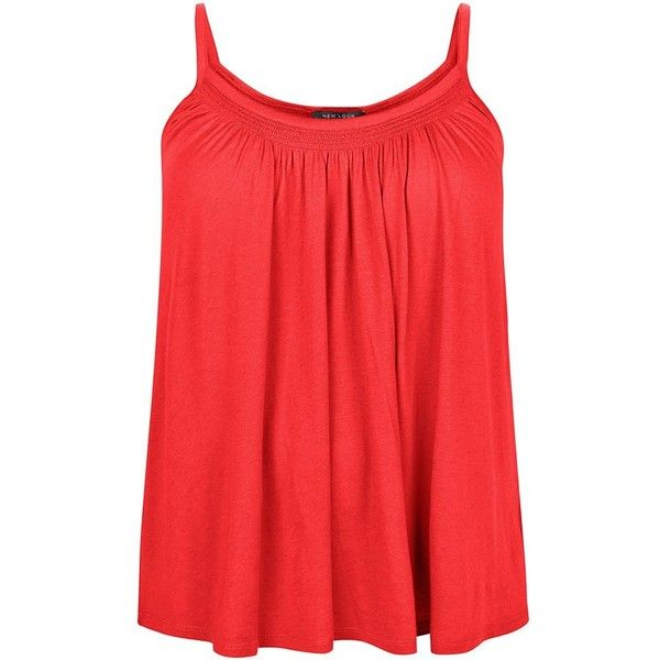 Plus Size Dark Red Shirred Trim Cami (46 BRL) ❤ liked on Polyvore featuring tops, dark red, strappy tank, red tank, red top, plus size camisoles and strappy tank top