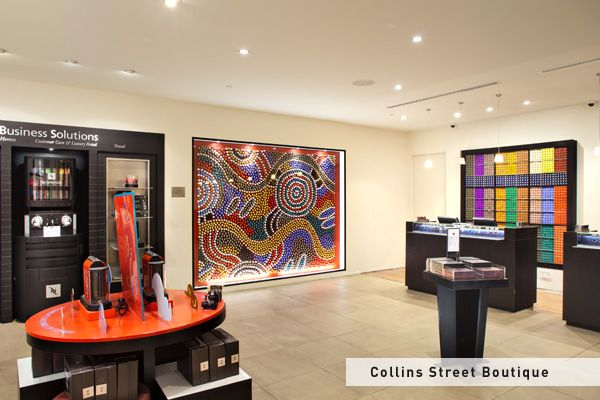 Nespresso Collins Street Melbourne Boutique capsule art - This installation was created by Balarinji Design Studio with proceeds going to Indi Kindi, an Aboriginal pre-literacy program. Take a closer look next time you're in a boutique!