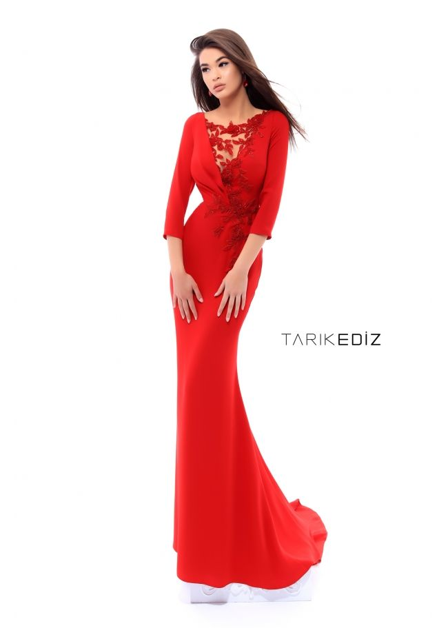 9fa3727a2c Tarik Ediz- Spring Summer 2018 Evening Collection Style  93410 Red Crepe  Gown with Hand-made Crystals and Floral Beading. Also available in Cherry  and Royal ...