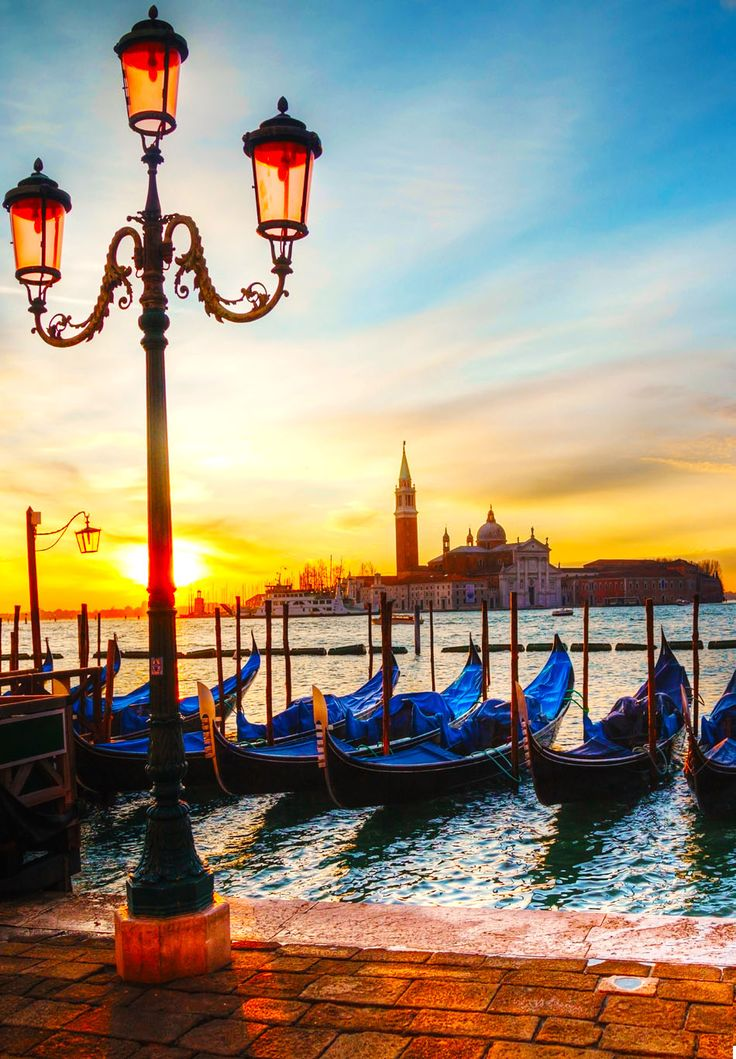 Beautiful View of Gondolas floating in the Grand Canal, Venice. Italy