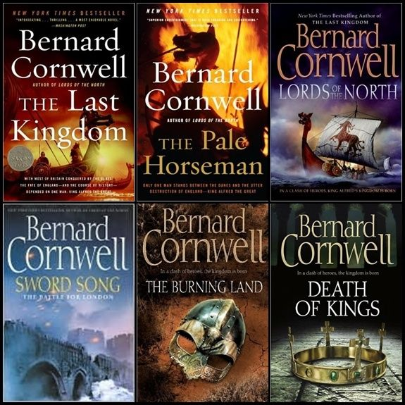 The Saxon Stories by Bernard Cornwell: The Last Kingdom, The Pale Horseman, Lords of the North, Sword Song, The Burning Land, Death of Kings.
