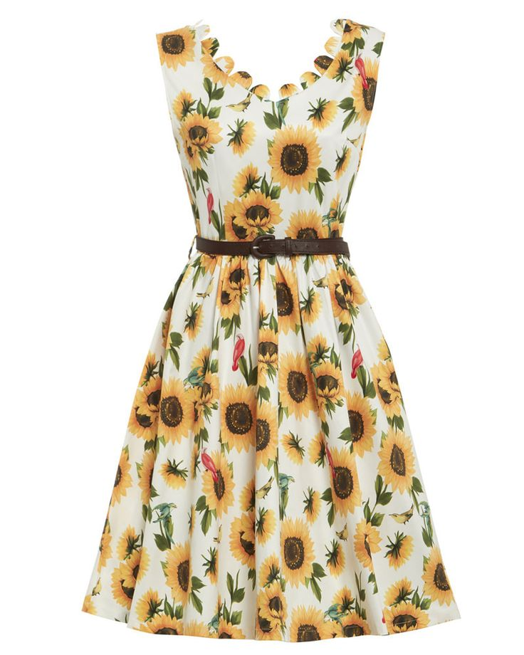 'Daria' Sunflower Print Swing Dress - New In
