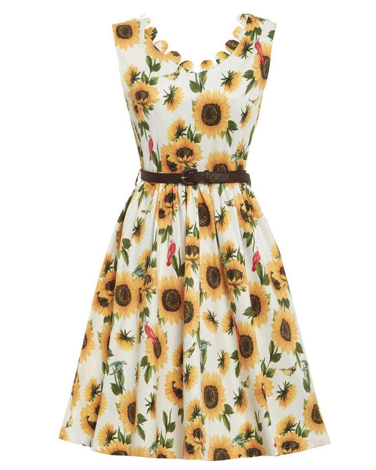 'Daria' Sunflower Print Swing Dress