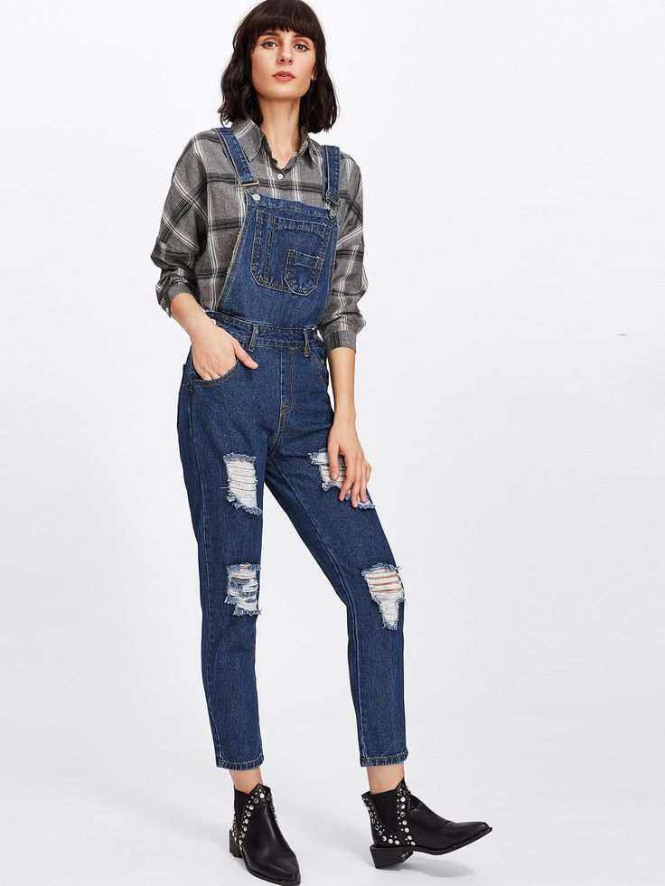 Shop Ripped Denim Overalls online. SheIn offers Ripped Denim Overalls & more to fit your fashionable needs.