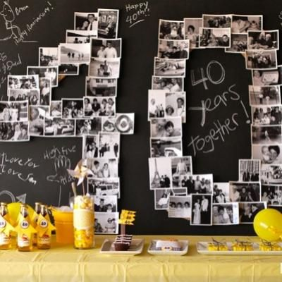 40th Wedding Anniversary Party using printed pictures. Easy, inexpensive, and super memorable.
