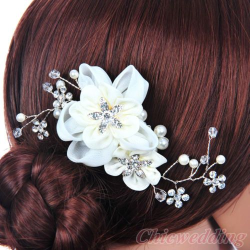 Elegant Bridal Hair Comb Silk Flower Crystal Headpiece Wedding Accessory Ivory