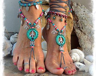 Lotus-Friedenszeichen barfuss Sandalen Peace Symbol Liebe Mojo Perlen häkeln Zehe Knöchel wickeln Sandale YOGA Schmuck Bikini Garten Hochzeit GPyoga