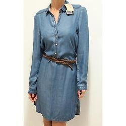 7538f abito Blu Burberry Brit Manica Lunga Vestito Donna Vestido Mulheres
