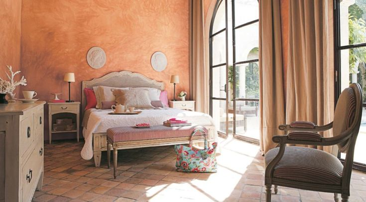 Rustic Bedroom in Modern and Classic Mix for Elegant Look : Enchanting Mediteranean Style Bedroom Faux Finish Paint