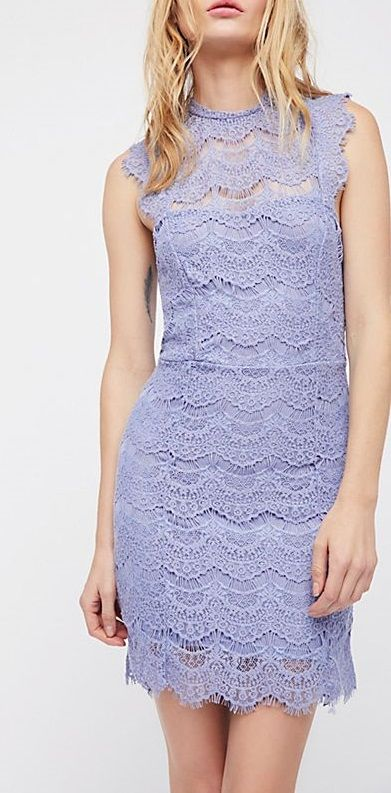 50d3b2fb84eb Purple Lace Bodycon Dress - Purple Bodycon lace slip dress with a high neck  and scalloped trim. Frayed cap sleeves and an open cutout i…