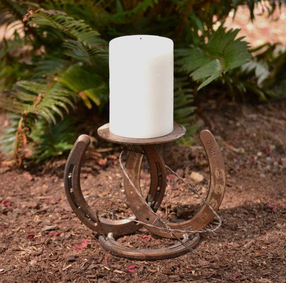 RESERVED Horseshoe and Barbed Wire Candle por SimplyCountryCrafts