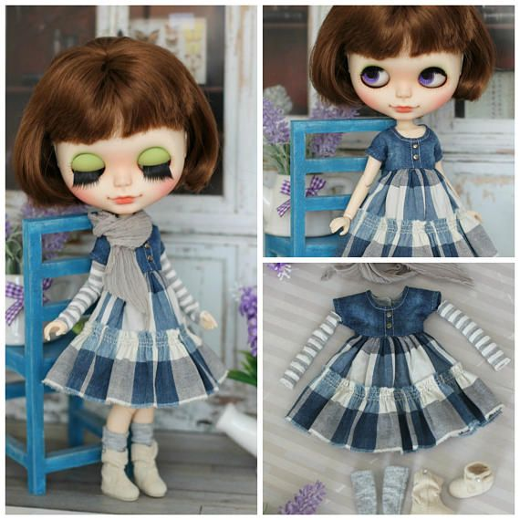 Denim dress with scarf and socks  for  Blythe / Azone pure
