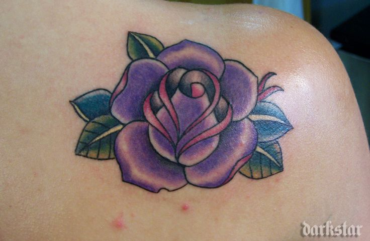 Purple rose tattoo | Black and purple rose tattoos ...