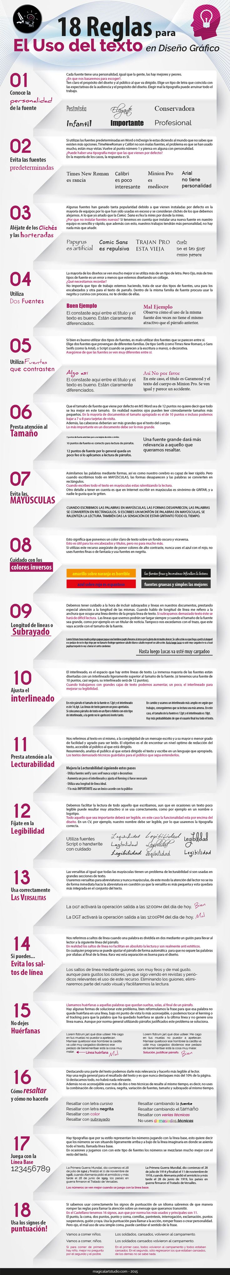 Infografía 18 Reglas para Correcto Uso del Texto en Diseño   Magical Art Studio