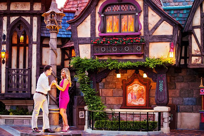 Bring your fairy tale romance to life with an engagement session at Disneyland or Walt Disney World