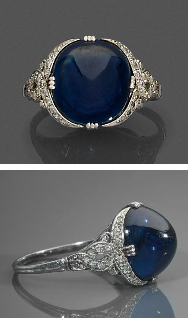 An Art Deco platinum, diamond and sapphire ring, circa 1925.