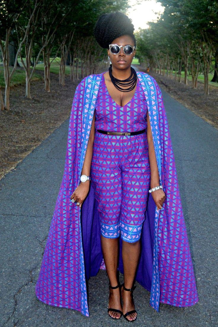Nikki Billie Jean: My Outfit for All Things Ankara Fashion Week 2015, Ankara Print Cape & Capri Jumpsuit