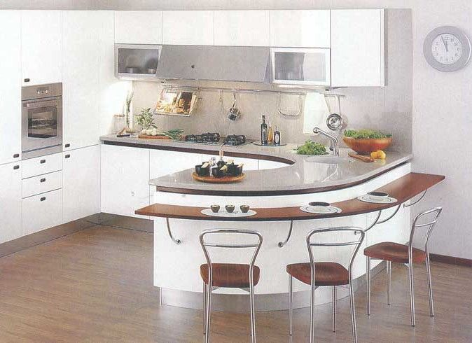 Полукруглая барная стойка на кухне фото