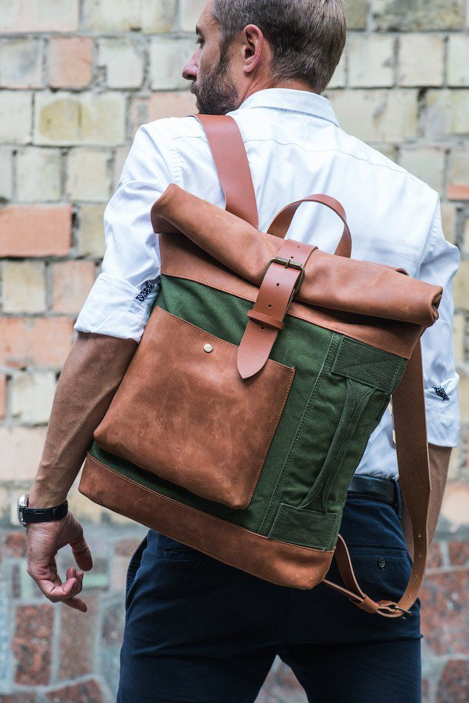 Adventure Leather Roll Top Backpack for Men and Women - Army Green Duffel with Cognac Brown Leather by Kruk Garage on Jetset Times SHOP