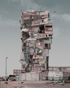 If Mad Max Were a Brilliant Architect, Here's What He'd Build | He takes bits and pieces from photos and add a 3-D rendering he created with software.  Justin Plunkett