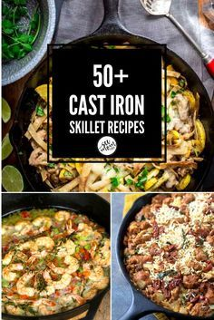 Cast Iron Skillet recipes are my favorite for one-pot meals. So easy and delicious! I've got more than 50 easy dinner recipes, desserts, appetizers, & more!