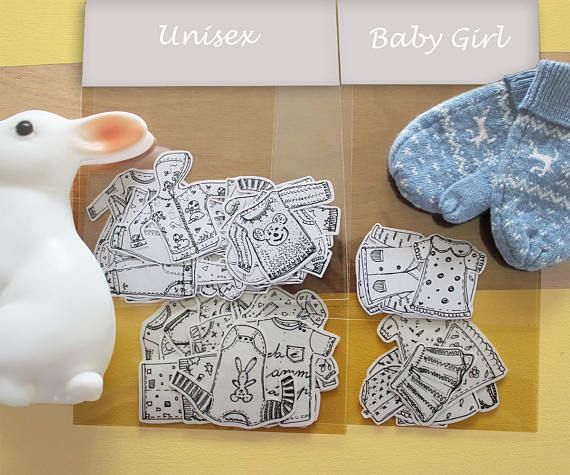 The Good Mood Factory_ Baby Clothes Sticker Set _ Nursery decor Illustrations Baby
