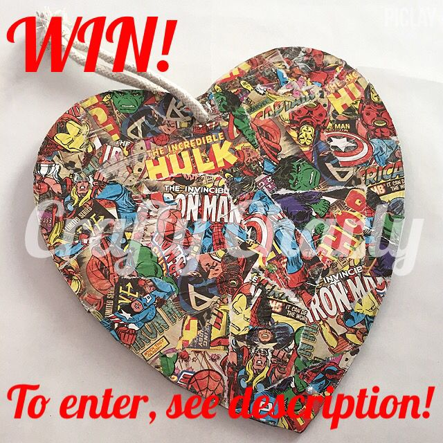 Giveaway for this lovely heart kicks off on facebook in an hour! Find it at www.fb.com/craftycharly #craftycharly #barnsley #marvel #decopatch #madeinyorkshire #geek
