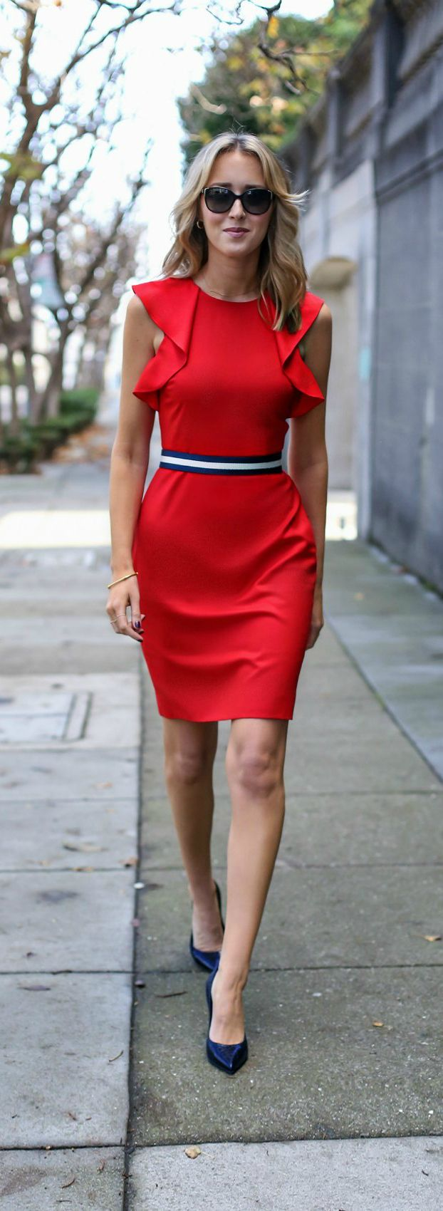 #30DRESSESin30DAYS - Day 2 - Veteran's Day Dress - red flutter sleeve sheath dress with navy and white belt